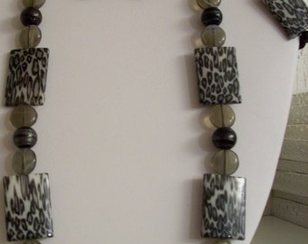 Leopard Print Bead Necklace Set