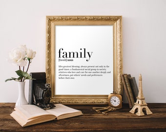Family Definition Print, Wall Art, Black and White Wall Art, Definition Poster, A4 Print, 8x10 Print, 11x14 Print