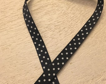 Black Swiss Dot 3/8 inch Grosgrain Ribbon, Polka Dot Ribbon for Hair Bows, Ribbon by the Yard