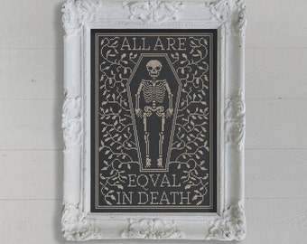 All Are Equal In Death: A Seasonal Cross Stitch Embroidery Chart - PDF Pattern Booklet