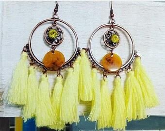 yellow tassels earrings