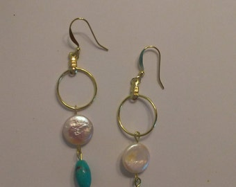 Turquoise and Coin Pearl Earrings