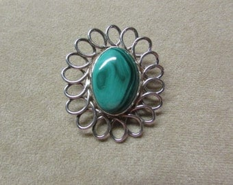 Incredible Malachite large STERLING SILVER pin/pendant with an elegant loop design