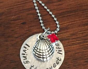 """Sea shell necklace, Hand stamped """"living the sweet life"""" necklace, Swarovski crystal birthstone necklace, personalized beach necklace"""