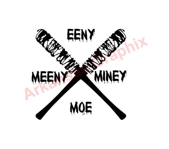 """The Walking Dead Negan """"Enny Meeny Miney Moe"""" Decal 4""""-9"""" TWD Negan Lucielle"""