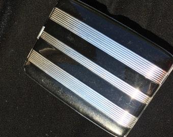 Vintage black and silver cigarette case