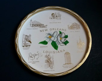 New Orleans, Louisiana tray, New Orleans serving tray, metal serving tray, vintage serving tray, French Quarter tray, Bourbon Street tray