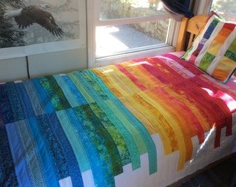 100% Cotton Twin Size Quilt Rainbow Quilt Modern Rainbow Art Quilt Handmade Quilt Ready To Ship
