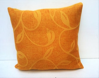 Pillow. Yellow pillowcase with special leaves textures.