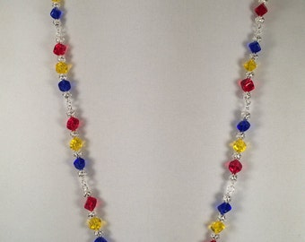Glass Cube Bead Necklace in Red, Yellow and Blue