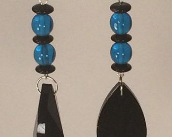 Black and Aqua Drop Earrings