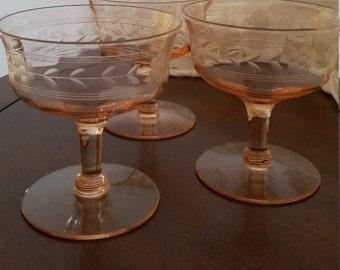 Vintage Pink Etched Champagne Glass, Dessert Cup, Flower, Stem and Leaf Banded Ribbed Set of Three