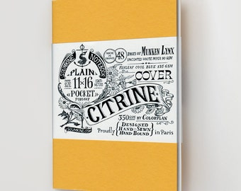 "Pocket Hand-made Notebook – Yellow ""Citrine"""