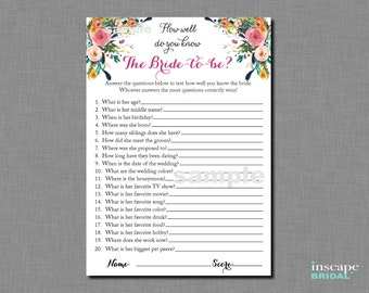 How Well Do You Know the Bride To Be Game Printable, Who Knows the Bride-To-Be Best? Floral Rustic Shabby Chic Bridal Shower Game Activity