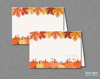 Pumpkin Food Tent Cards Printable, Fall Bridal Shower Place Cards, Autumn PlaceCards, Floral, Rustic Bridal Shower Decor, Food Labels, Signs