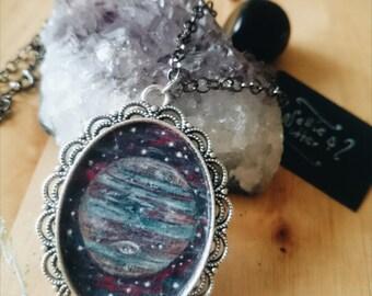 SALE 50 % OFF Jupiter Large Handmade Pendant, Original Artwork,Hand-painted Pendant, Planet Jupiter, Wiccan Jewelry, Planetary Art