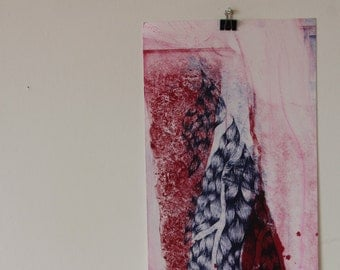 Blue and Pink Contrast Abstract Lithograph