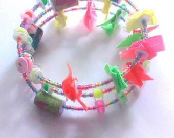 neon nights - beaded cuff bracelet