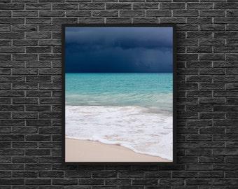Stormy Sky Photo - Sea Photo - Turquoise Sea Photo - Skyline - Vertical - Sea Storm Photo - Sea Wall Art - Sea Wall Decor - Sea Home Decor