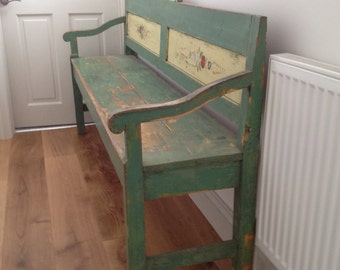Stunning Green Antique Painted Bench