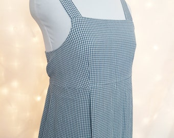 Gingham Blue and White Maxi Dress with Empire Waist Zipper and Back Ties - 90s Gingham Dress - Blue Maxi Dress - Blue Sundress