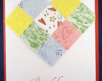Birthday Card Patchwork Heart