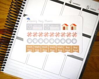 Walk Dog / Bone / Paw Prints - Planner Stickers (30 removable matte planner stickers)