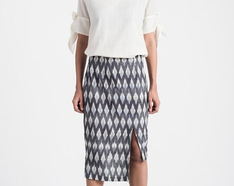 Grey Handwoven Ikat Skirt