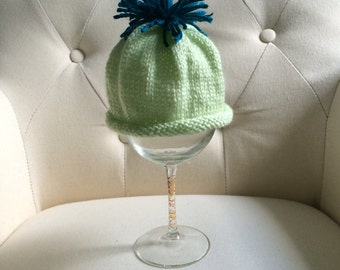 Green and Blue Knit Baby Hat