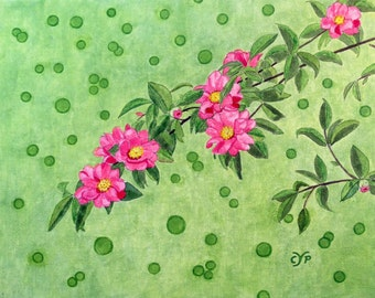 """Blossoms and bubbles, Acrylic Painting by CYP, Original on Canvas board 14"""" x 11"""""""
