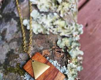 Rectangular Dogwood Pendant with Brass Triangle Charm