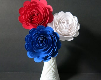 """Patriotic flowers for table centerpiece, set of 3 big 3"""" roses on stems, Red White Blue, French Cafe Restaurant Decor, USA Deli Floral"""