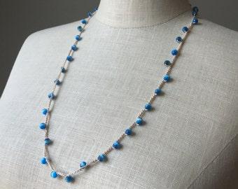Blue Bead Crochet Necklace