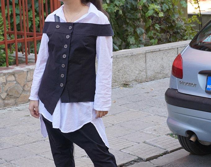 Attractive Single Suspender Black Vest / Avant Garde Unique Asymmetric Vest / Clubwear / Party Top / Office Wear