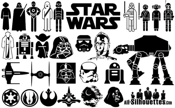star wars silhouettes pack silhouette svg cut files instant. Black Bedroom Furniture Sets. Home Design Ideas