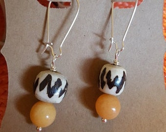 HandCrafted Earrings - Tangerine batik