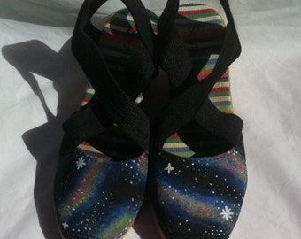 Handpainted galaxy espadrille wedge sandals (size 5)