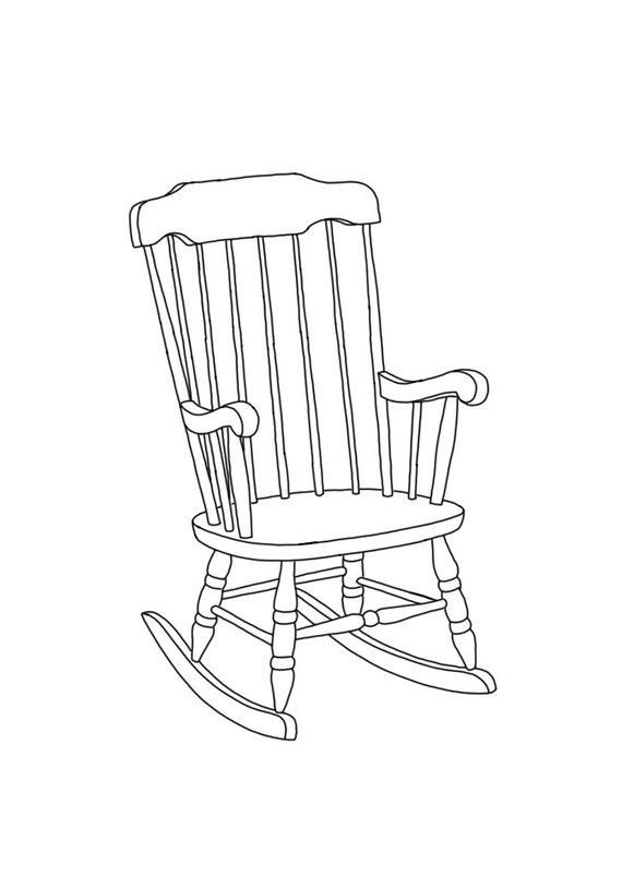 Line Drawing Chair : Items similar to rocking chair linear line hand drawing a