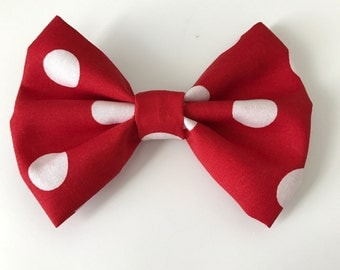 Minnie Mouse inspired red and white polka dot hair bow