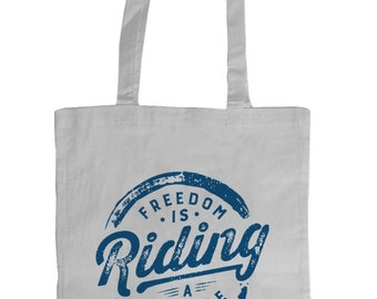 Freedom is Riding a Bicycle Tote Bag (White-Blue)