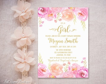 Floral Baby Shower Invitation, It's a Girl Invitation, Watercolor Baby Shower Invite, #BS05