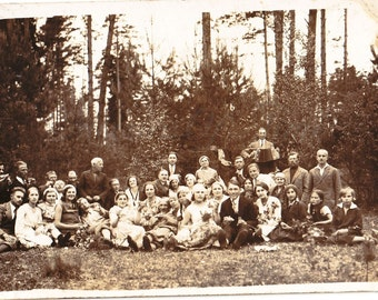 Vintage Photo - Family Photo - Wedding - Forest - 1930s Photo - Vintage Snapshot - Polish Photo - Party - Vodka - Prewar Poland - Newlyweds