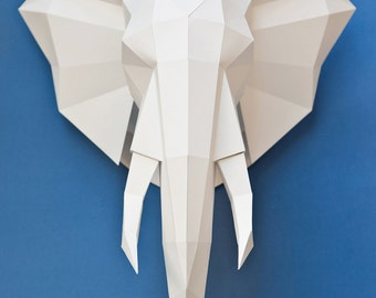 Elephant Head Template 2D by Polygonal Paper
