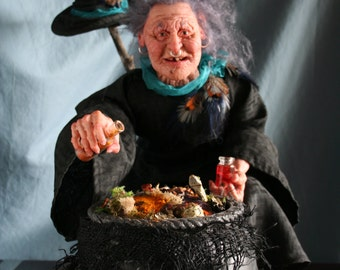 DINTY LITTLE STEW,   original unique clay witch art doll,  sculpted and designed by Sue Menz.