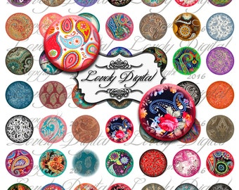 "1"" Digital Download Paisley Circles Jewelry Wine Charm Bottlecap Scrapbook Embellishment Printable Collage Sheet"