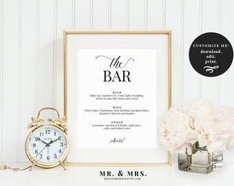 The Bar Menu Sign | Bar Menu Printable | Drink Menu | Wedding Bar Sign | Bar Sign | Instant Download | Wedding Sign | Drinks | MAM200_04