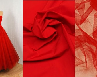 Custom Made 1950's Red Strapless Tulle and Bow Dress
