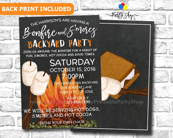 S'mores & Bonfire Party Invitation