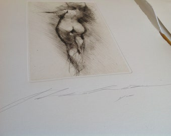 Art print, chalcographic engraving, drypoint. back #003