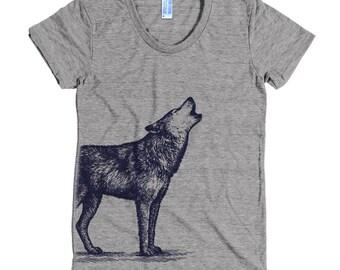 Lone Wolf T Shirt - Howling Wolf Tee Shirt - Wolf Shirt - Women's American Apparel T Shirt - Item 1056 - Blue Ink